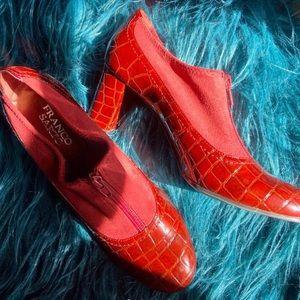 Vintage oxblood snakeskin heeled boots